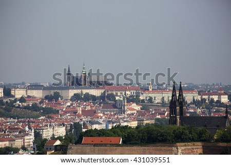 Prague castle with Vysehrad. Famous castle in Czech republic. Travel destination in central Europe. Castle in Prague old town. Historical gothic and baroque architecture. Cechia town.