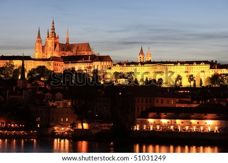 Prague cathedral and castle at night