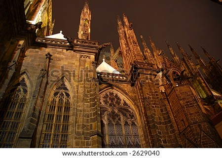 Prague cathedral at cloudy night - stock photo
