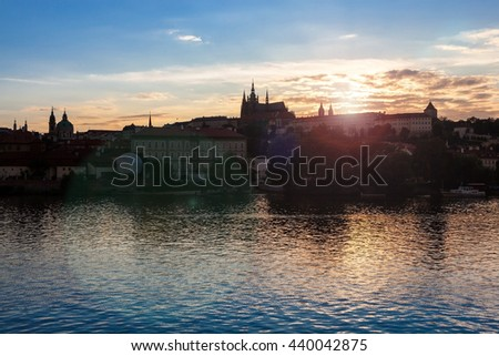 Prague cathedral, castle and Vitava river - stock photo