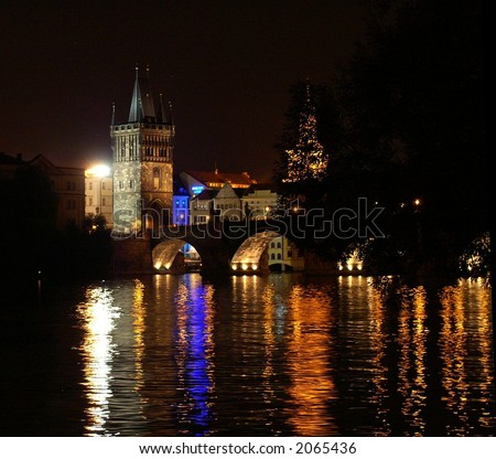 Prague  charles bridge at night - mysterious scene in old prague city