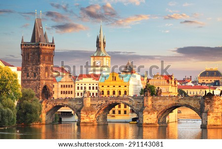 Prague - Charles bridge, Czech Republic - stock photo
