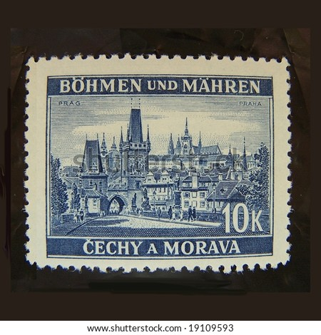 Prague Charles bridge (Karluv most),  Mala strana and castle mail stamp isolated on black background
