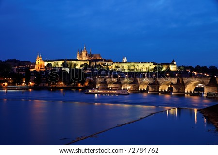 Prague, Charles Bridge, Prague Castle Hradcany and Moldova. Night view of the city
