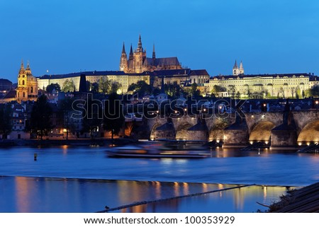 prague, charles bridge, prague castle prague castle and vltava river - stock photo