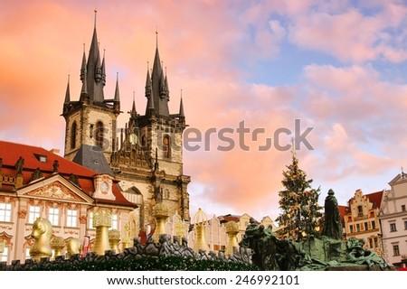 Prague christmas market  - stock photo