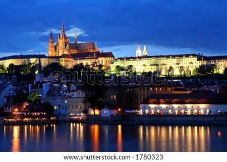 Prague city of Czeh Republic at night - stock photo