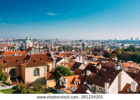 Prague cityscape, Czech Republic. Sunny blue clear sky - stock photo
