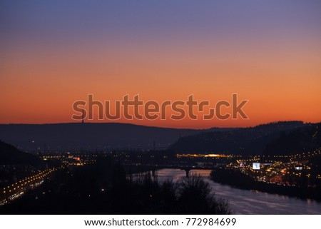 Prague cityscape with transmitter in sunset, Czech repulbic