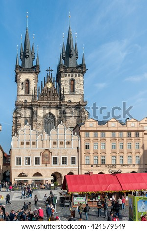 PRAGUE, CZECH - MARCH 14, 2016: Cityscape of Prague, Czech. Church of Our Lady before Tyn. Old Town Square.