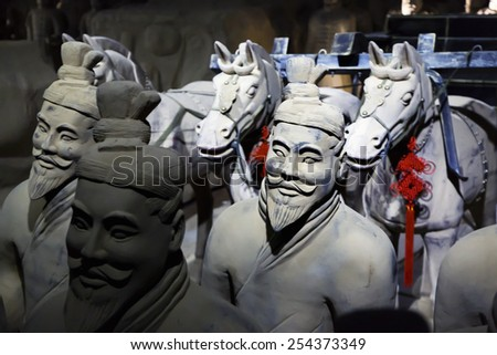 Prague, Czech Repoublic- 5 February 2015:The famous Chinese terracotta army figures are exhibited in Prague.The figures date back to 210 BC and belong to China's most important discoveries. - stock photo