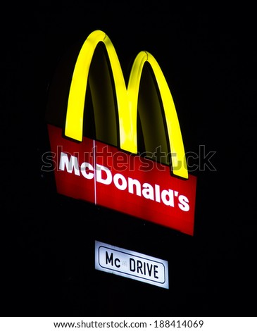 """PRAGUE, CZECH REPUBLIC - APRIL 2014: logo/ electronic sign for the fast food chain """"Mc Donalds"""", April 2010 in Prague, Czech republic.   - stock photo"""