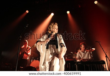 PRAGUE, CZECH REPUBLIC - APRIL 2, 2016: Norwegian singer Ane Brun (born Ane Brunvoll) performs live on stage during a concert at Palac Akropolis on April 2, 2016 in Prague, Czech Republic. - stock photo