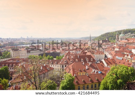 Prague, Czech Republic - April 28, 2016: panorama of Prague with red roofs from above at spring day