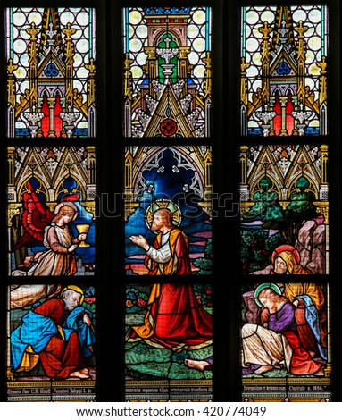 PRAGUE, CZECH REPUBLIC - APRIL 5, 2016: Stained Glass in the Basilica of Vysehrad in Prague, Czech Republic, depicting Jesus' Agony in the Garden of Gethsemane.