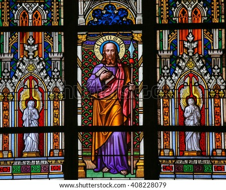 PRAGUE, CZECH REPUBLIC - APRIL 2, 2016: Stained Glass window in St. Vitus Cathedral, Prague, depicting Saint Thomas