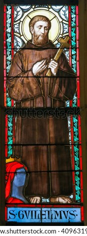 PRAGUE, CZECH REPUBLIC - APRIL 2, 2016: Stained Glass window in St. Vitus Cathedral, Prague, depicting Saint William of Gellone, also known as William of Aquitaine (755 - 812)