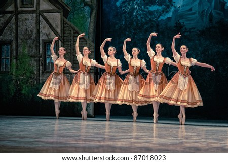 PRAGUE, CZECH REPUBLIC - APRIL 6: The Prague State Opera ballet ensemble presents the traditional version of Giselle on April 6, 2011 in Prague - stock photo
