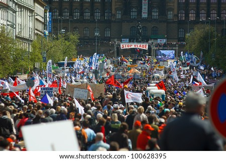 PRAGUE, CZECH REPUBLIC - APRIL 24: Wenceslaw square, Prague, full of people during protest event Stop Vlade on April 24, 2012
