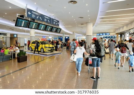 PRAGUE, CZECH REPUBLIC - AUGUST 04, 2015: airport of Prague interior. International airport of Prague is major airport of Czech Republic