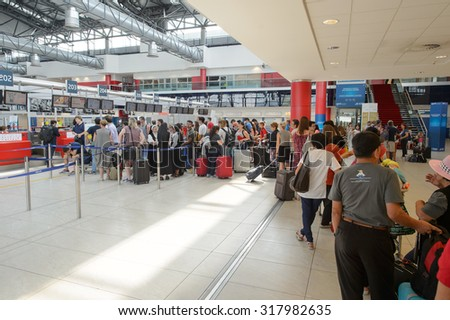 PRAGUE, CZECH REPUBLIC - AUGUST 04, 2015: airport of Prague interior. International airport of Prague is major airport of Czech Republic - stock photo