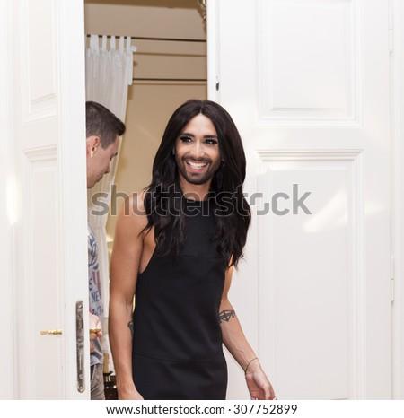 PRAGUE, CZECH REPUBLIC, AUGUST 10: Austrian artist Thomas Neuwirth known as cross-dressing diva Conchita Wurst at Meet and Greet action on Monday August 10, 2015, in Prague, Czech Republic - stock photo