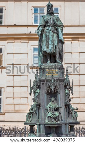 Prague, Czech Republic - August, 2016: King Charles IV monument at Crusaders' Square in Prague.