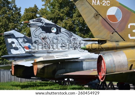 PRAGUE, CZECH REPUBLIC - AUGUST 18: Old military plane stands in Prague Aviation Museum Kbely on August 18, 2012 in Prague, Czech republic.  - stock photo