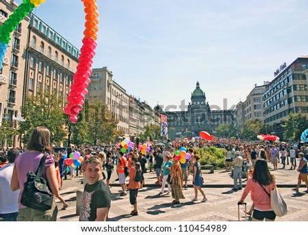 PRAGUE, CZECH REPUBLIC - AUGUST 18: Participants and spectators gather for the second Prague Pride Parade, on August 18, 2012 at Wenceslav Square, Prague, Czech Republic - stock photo