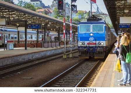 PRAGUE, CZECH REPUBLIC - AUGUST 26, 2015: Passenger train departs from the main train station of Prague to Kutna Hora. Prague, Czech Republic - stock photo