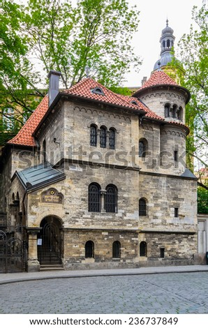 Prague. Czech Republic. Built in 1280 the historic Jewish Synagogue is the oldest in Europe - stock photo