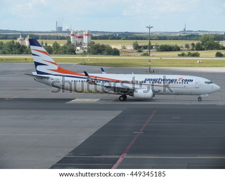 PRAGUE, CZECH REPUBLIC - CIRCA JULY 2016: Boeing 737-800 of the Smartwings airlines on the runway at Vaclav Havel international airport - stock photo