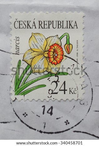 PRAGUE, CZECH REPUBLIC - CIRCA MAY 2015: envelope with a Czech stamp with narcissus flower - stock photo