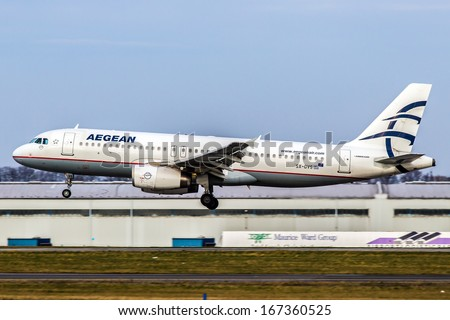 PRAGUE, CZECH REPUBLIC - DECEMBER 15:Airbus A320-232 Aegean Airlines lands at PRG Airport on December 15, 2012. Aegean is the largest Greek airline. - stock photo