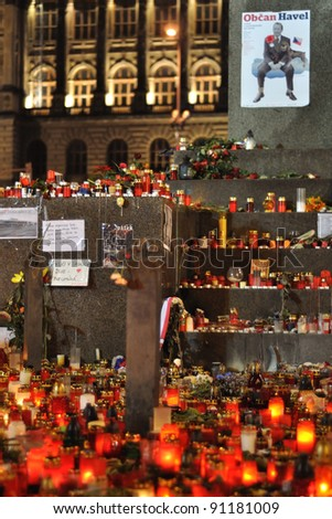 PRAGUE, CZECH REPUBLIC - DECEMBER 20: Hundreds of people leave lit candles in honor of the late activist Vaclav Havel on December 20, 2011 at Wenceslas square in Prague, Czech republic.