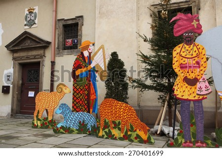 PRAGUE, CZECH REPUBLIC - DECEMBER 21, 2012: Nativity scene in front of the Church of Our Lady Victorious in Prague, Czech Republic.