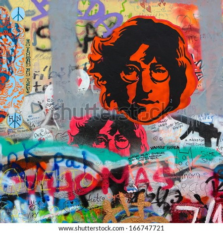 PRAGUE, CZECH REPUBLIC - DECEMBER 10: The Lennon Wall since the 1980s filled with John Lennon-inspired graffiti and pieces of lyrics from Beatles songs on Dec 10, 2013 in Prague, Czech Republic