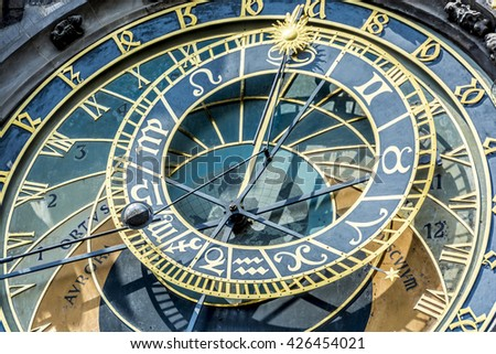 Prague, Czech Republic, Europe - July 07, 2014:  The medieval astronomical clock located in the southern wall of Old Town City Hall in the Old Town Square