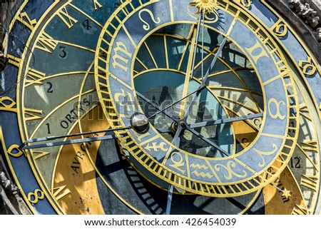 Prague, Czech Republic, Europe - July 07, 2014: The medieval astronomical clock  located in the southern wall of Old Town City Hall, in the Old Town Square