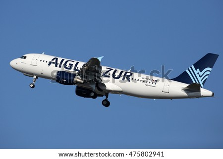 PRAGUE, CZECH REPUBLIC - FEBRUARY 26: Aigle Azur Airbus A320-214 takes off from PRG Airport on February 26, 2016. Aigle Azur is the second largest airline in France.