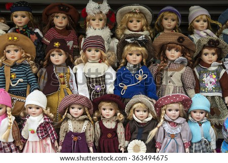 Prague,Czech Republic - January 11, 2016 : Prague souvenirs, traditional puppets made from wood in the gift shop. - stock photo