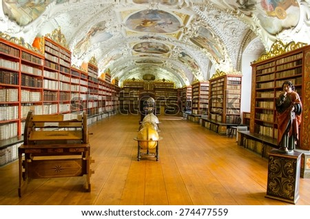 PRAGUE, CZECH REPUBLIC, JANUARY 30, 2015: view of the interior of famous library situated inside of the strahov monastery in prague. - stock photo