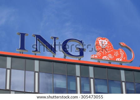PRAGUE, CZECH REPUBLIC - JULY 11, 2015: Office of ING Group. ING was the world's largest banking/financial services and insurance conglomerate. - stock photo