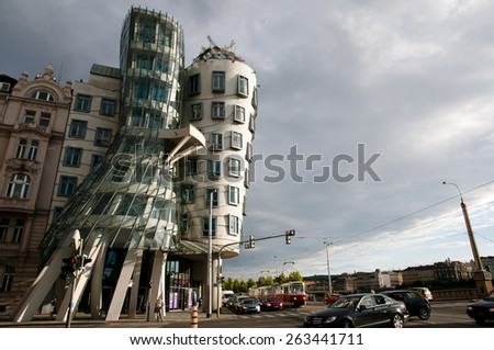 PRAGUE, CZECH REPUBLIC - July 30, 2013: The Dancing House, designed by Vlado Milunic & Frank Gehry, is also called Fred & Ginger and was completed in 1996