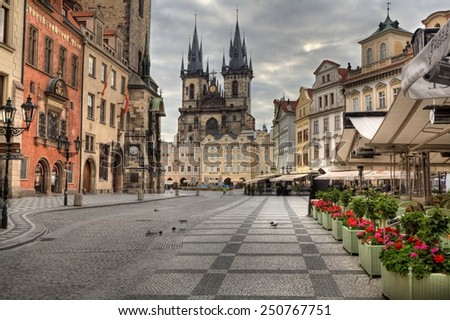 PRAGUE, CZECH REPUBLIC - JULY 1, 2014: The Old Market Square in Prague. World Heritage Site by UNESCO - stock photo