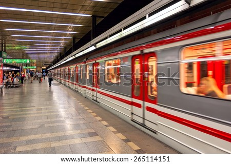 PRAGUE, CZECH REPUBLIC - JULY 16, 2009: Train leaves metro station - rapid transit network of Prague founded in 1974, contains 3 lines, 57 stations and is fifth busiest metro system in Europe. - stock photo