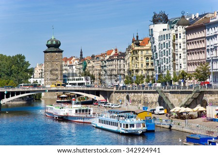 PRAGUE, CZECH REPUBLIC - JUN 1, 2014 - Dancing House (called Ginger and  Fred)  in New Town in Prague (UNESCO), Czech republic. Built by architects Vlado Milunic and Frank Gehry in 1992-1996. - stock photo