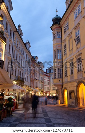 PRAGUE, CZECH REPUBLIC - JUN 10: Tourists walk on the streets at night on June 10, 2012 in Prague, Czech Republic.