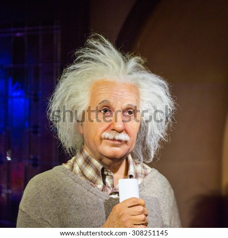 PRAGUE, CZECH REPUBLIC - JUNE 29, 2015: Albert Einstein, the scientist, Grevin museum. Grevin is the museum of the wax figures in Prague