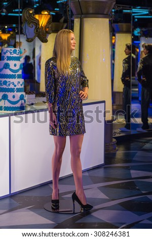 PRAGUE, CZECH REPUBLIC - JUNE 29, 2015: Cameron Diaz, the actress, Grevin museum. Grevin is the museum of the wax figures in Prague